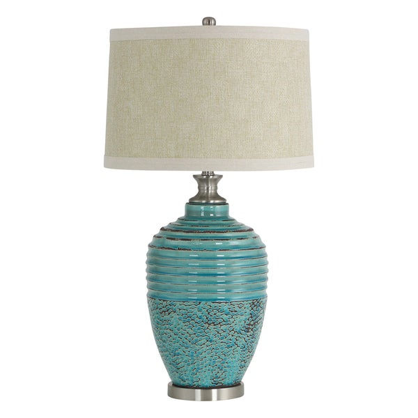 Beta Teal Ceramic and Tan Linen Shade Glazed Table Lamp