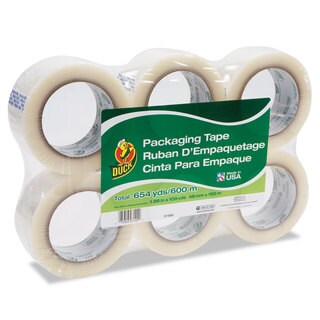 Duck Commercial Grade Packaging Tape 2-inch x 2 1.88-inch x 109 yards Clear 3-inch Core 6/Pack