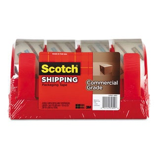 Scotch 3750 Commercial Grade Packing Tape with Disp 1.88-inch x 54.6 yards 3-inch Core Clear 4/Pack