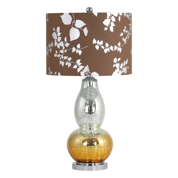 Isola Glass Body and Brown Cotton Hardback Silver and Copper Finished Table Lamp