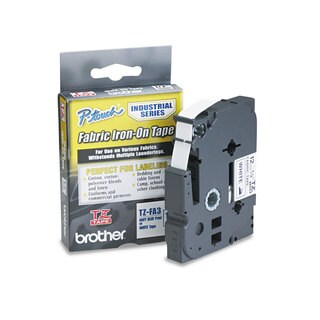 Brother P-Touch TZ Industrial Series Fabric Iron-On Tape Navy-on-White 1/2 x 9.8ft