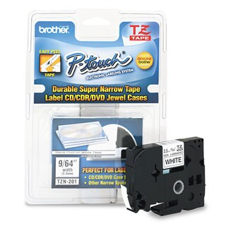 Brother P-Touch TZ Super-Narrow Non-Laminated Tape for P-Touch Labeler 1/8w Black on White