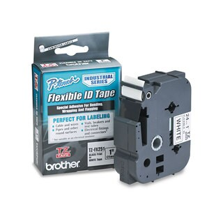Brother P-Touch TZe Flexible Tape Cartridge for P-Touch Labelers 1in x 26.2ft Black on White