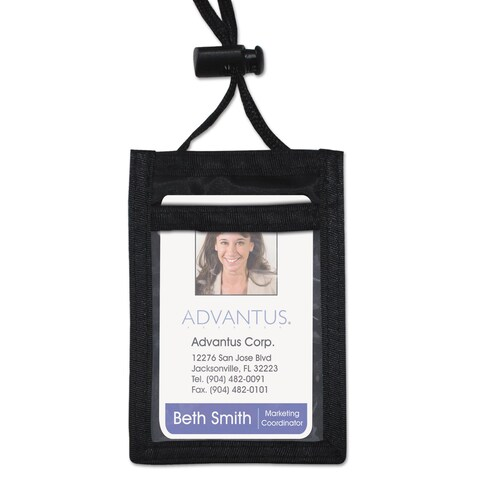 Advantus ID Badge Holder with Convention Neck Pouch Vertical 2 1/4 x 3 1/2 Black 12/Pack