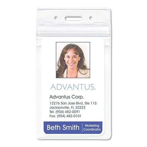 Advantus Resealable ID Badge Holder Vertical 2 5/8 x 3 3/4 Clear 50/Pack