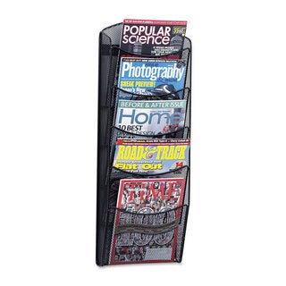 Safco Onyx Mesh Literature Rack Five Compartments 10-1/4-inch wide x 3-1/2-inch deep x 28-1/3-inch high Black