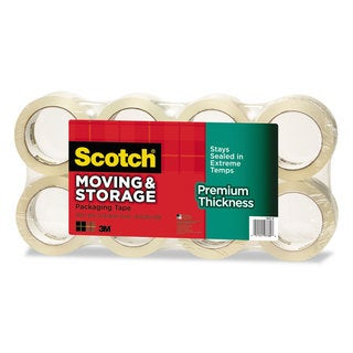 Scotch Moving & Storage Tape Premium Thickness 1.88-inch x 54.6 yards 3-inch Core Clear 8/Pack