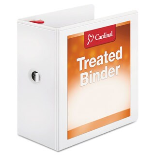 Cardinal Treated Binder ClearVue Locking Slant-D Ring Binder 5 inches Capacity 11 x 8 1/2 White