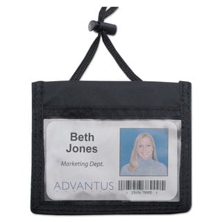 Advantus ID Badge Holder with Convention Neck Pouch Horizontal 4 x 2 1/4 Black 12/Pack