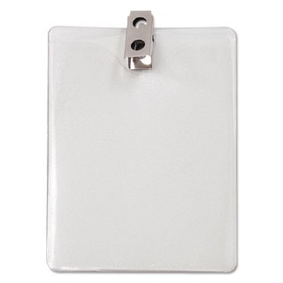 Advantus ID Badge Holder with Clip Vertical 3-inch wide x 4h Clear 50/Pack