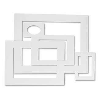 Pacon Pre-Cut Mat Frames for Photo/Art 12 Mats/ 5 Asst Sizes 60/Pack White
