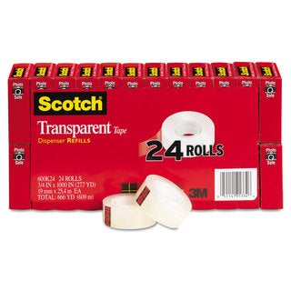 Scotch Transparent Tape 3/4 inches x 1000 inches 1 inches Core Clear 24/Pack