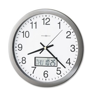Howard Miller Chronicle Wall Clock with LCD Inset 14-inch Grey