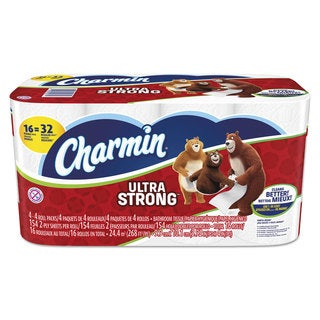 Charmin Ultra Strong Bathroom Tissue 2-Ply White 154 Sheets/Roll 16 Rolls/Carton