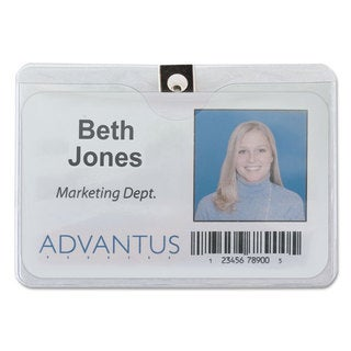 Advantus ID Badge Holder with Clip Horizontal 4-inch wide x 3-inch high Clear 50/Pack