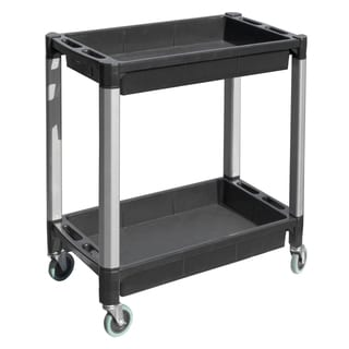 MaxWorks Black and Grey Double Tray Plastic Utility Cart