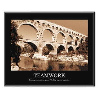 Advantus inchesTeamwork inches Framed Sepia-Tone Motivational Print 30 x 24