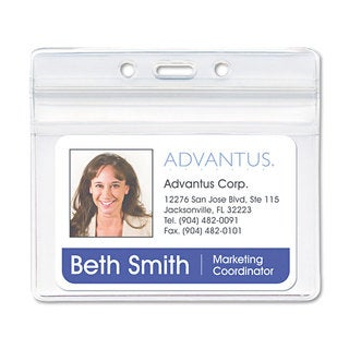Advantus Resealable ID Badge Holder Horizontal 3 3/4 x 2 5/8 Clear 50/Pack