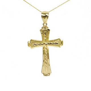 10k Yellow Gold Diamond-cut Cross Pendant