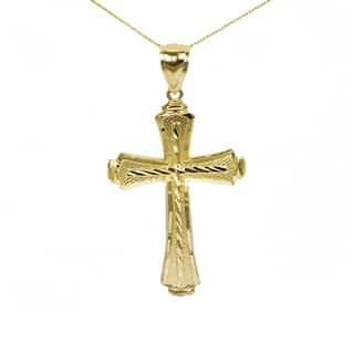 10k Yellow Gold Diamond-cut Cross Pendant|https://ak1.ostkcdn.com/images/products/13866690/P20507057.jpg?impolicy=medium