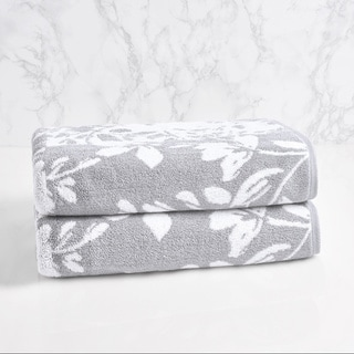 LOFT by Loftex Floral Block Jacquard Bath Towel (set of 2)