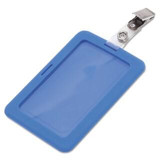 Advantus Rubberized Badge Holder 2 1/2 x 3 3/4 Horizontal/Vertical Blue 5/Pack