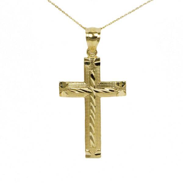 853cc3e2fe8776 Shop 10k Yellow Gold Diamond Cut Cross Pendant - Free Shipping Today ...