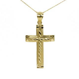 10k Yellow Gold Diamond Cut Cross Pendant