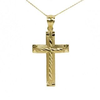 10k Yellow Gold Diamond Cut Cross Pendant