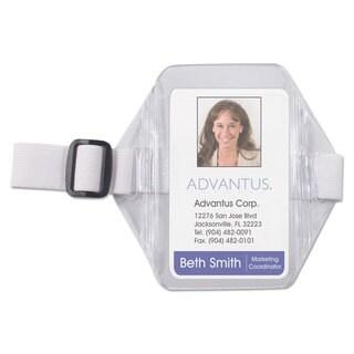 Advantus Vertical Arm Badge Holder 2 1/2 x 3 1/2 Clear/White 12 per Box
