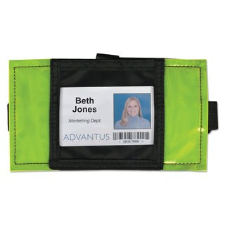 Advantus Reflective Arm Badge Holder 3 1/2 x 3 1/2 Green/Black 6 per Box