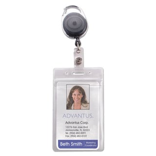 Advantus Resealable ID Badge Holder Cord Reel Vertical 2 5/8 x 3 3/4 Clear 10/Pack