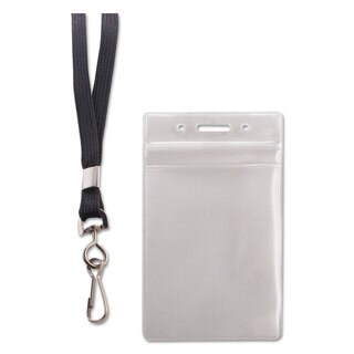 Advantus Resealable ID Badge Holder Lanyard Vertical 2 5/8 x 3 3/4 Clear 20/Pack