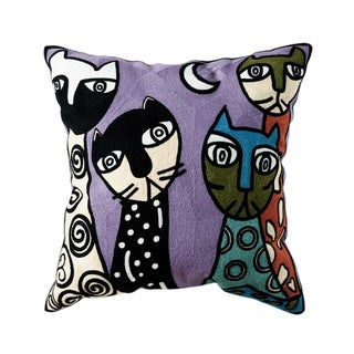 eLight Caitlin Multicolored Cotton Embroidered Throw Pillow