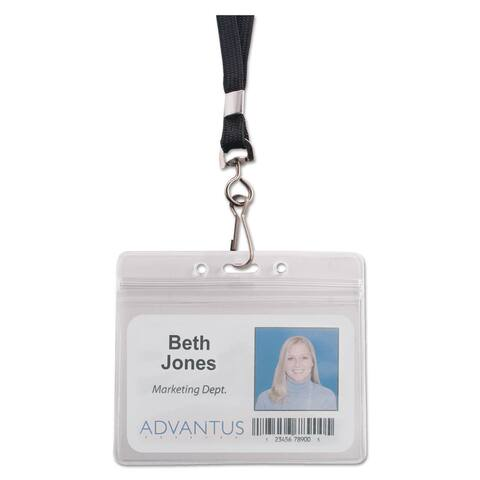 Advantus Resealable ID Badge Holder Lanyard Horizontal 3 3/4 x 2 5/8 Clear 20/Pack