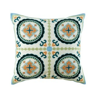 ELight Mairead Embroidered Cotton Multicolor Throw Pillow