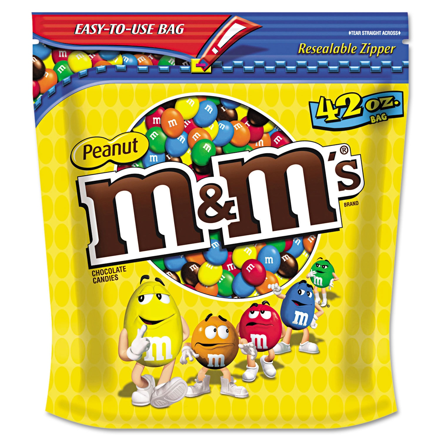 M&M's Milk Chocolate (Brown) Coated Candy with Peanut Cen...