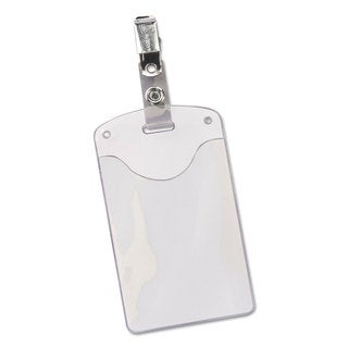 Avery Secure Top Clip-Style Badge Holders Vertical 2 1/4 x 3 1/2 Clear 50/Box