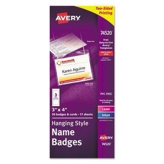 Avery Neck Hang Badge Holder w/Laser/Inkjet Insert, Top Load, 3h x 4w, White, (Pack of 50) (As Is Item)