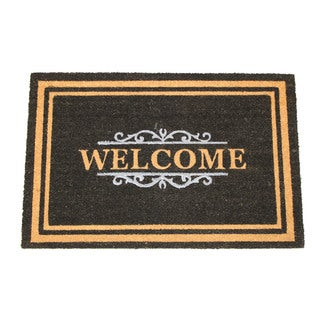 Black Coir 24-inch x 36-inch Gated Welcome Doormat