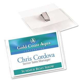 Avery Secure Top Clip-Style Badge Holders Horizontal 4 x 3 Clear 100/Box