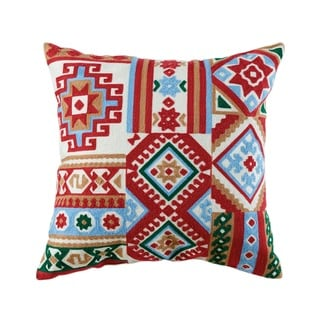 Willa Embroidered Multicolored Cotton Blend 18-inch Throw Pillow