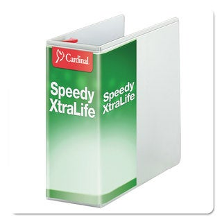 Cardinal Speedy XtraLife Non-Stick Locking Slant-D Ring Binder 5-inch Capacity 11 x 8 1/2 White