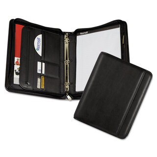 Samsill Professional Zippered Pad Holder/Ring Binder Pockets Writing Pad Vinyl Black