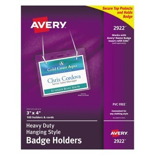 Avery Secure Top Hanging-Style Badge Holders Horizontal 4-inch wide x 3-inch high Clear 100/Box