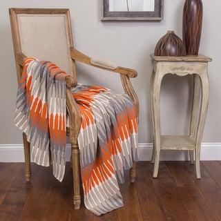 Carson Orange and Charcoal Cotton Throw