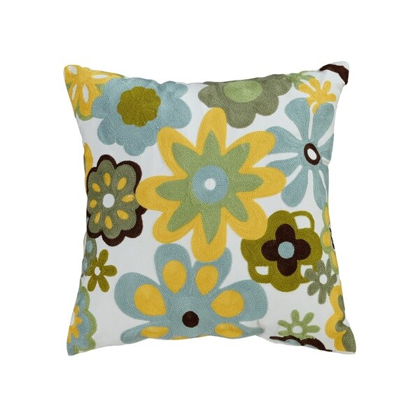 ELight Caltha Multicolor Embroidered Cotton Throw Pillow