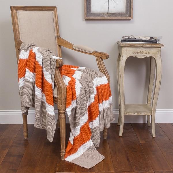 Jax Orange and Grey Cotton Throw