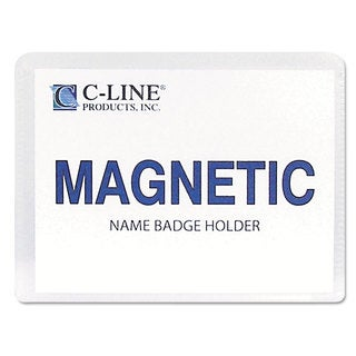 C-Line Magnetic Name Badge Holder Kit Horizontal 4-inch wide x 3-inch high Clear 20/Box
