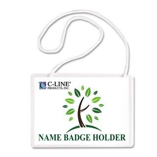 C-Line Specialty Name Badge Holder Kits 4 x 3 White 50/Box